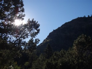 Sun over Mosca Pass Trail
