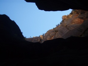 The sky above framed in the dark canyon walls