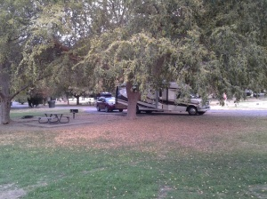 Our site from near the river - I just love seeing our Phoenix snuggled under the trees