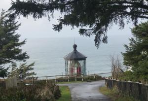 Approaching  Cape Meares Lighthouse from above