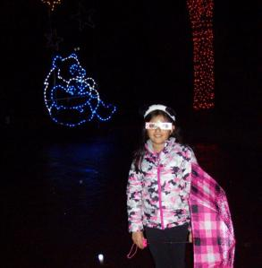 "Chloe with her ""magic glasses"" at Zoo Lights"